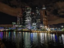 Moscow city by night across the river royalty free stock images