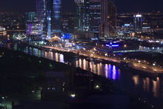 Moscow city night aerial Royalty Free Stock Images