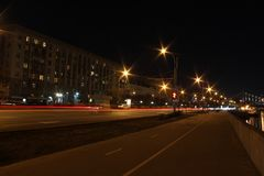 Moscow city at night. Night cityscape of Moscow, Russia royalty free stock photo