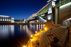 Moscow city night landscape with a bridge Stock Images