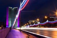 Moscow city night landscape. Novoarbatskiy bridge. Stock Images