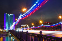 Moscow city night landscape. Novoarbatskiy bridge. Stock Images