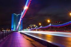 Moscow city night landscape. Novoarbatskiy bridge. Stock Image