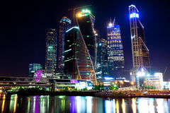 Moscow-city at night, Russia-01.06.2014 Royalty Free Stock Photo