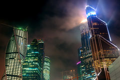 Moscow-city at night, Russia Stock Images
