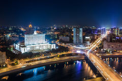 Moscow city night scene. Aerial view of a night scene in Moscow city looking over the White House and New Arabat Street, Russian Federation Royalty Free Stock Photos