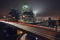 Moscow City and night traffic Royalty Free Stock Photography