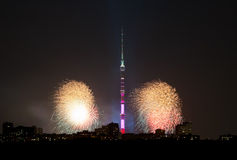Moscow city with Ostankino TV Tower and fireworks Stock Photography