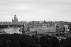 Moscow city panorama. Birds eye view. Black and white photo. Modern and old architecture Stock Photos
