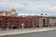 Moscow city panorama and Moscow Marathon runners stock photography