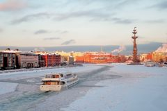 Moscow city panorama in winter. Stock Photos