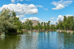 Moscow city Park, people walking on the water stock photo