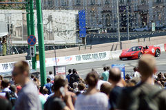 Moscow City Racing  Red racing car  Ferrari  high speed  The bridge  July Royalty Free Stock Image