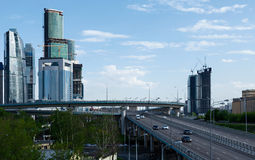 Moscow-city and road Royalty Free Stock Photo