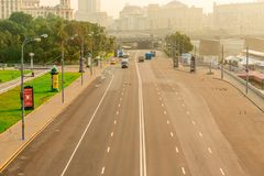 Moscow city roads, toned city landscape. Russia royalty free stock images