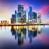 Moscow city, Russia. Moscow International Business Center at night royalty free stock image
