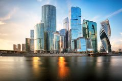 Moscow city, Russia. Moscow International Business Center at sun stock photos