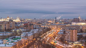 Moscow city Russia skyline aerial panoramic top view day to night timelapse urban winter snow scenery architecture stock footage