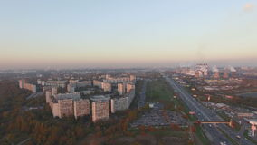 Moscow city skyline aerial view dusk sunset stock video footage