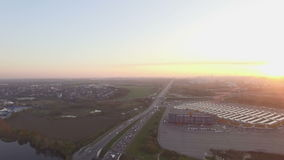 Moscow city skyline aerial view dusk sunset stock video