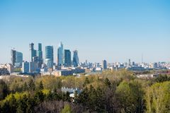 Moscow city skyline afternoon Royalty Free Stock Photo