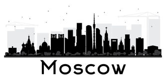 Moscow City skyline black and white silhouette. Royalty Free Stock Photography