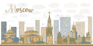Moscow City Skyline in blue and brown color Stock Photos