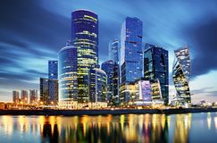 Moscow City skyline . Moscow International Business Centre at ni. Ght time with Moskva river stock image