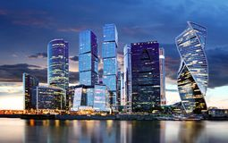Moscow City skyline. International Business Centre at night time with Moskva river stock image