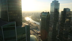 Moscow City skyscrapers stock video footage