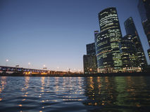 Moscow City skyscrapers. Business center landscape. Night view Stock Image