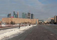 Moscow city skyscrapers and Kutuzovskiy prospect Royalty Free Stock Photos
