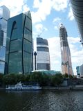 Moscow-City, August 20011. View from the Moscow River. royalty free stock photo