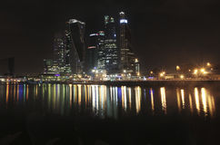 Moscow city skyscrapers by night. Russia Stock Photography