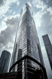 Moscow City skyscrapers in summer in cloudy weather perspective royalty free stock photo