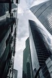 Moscow City skyscrapers in summer in cloudy weather perspective stock photos