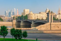 Moscow City skyscrapers in the city, urban landscape. In the early summer morning stock image