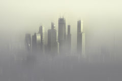 Moscow City skyscrapersthe in sunrise fog Royalty Free Stock Photos