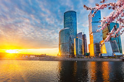 Moscow City at spring Stock Photo