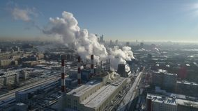 Moscow City steam station aerial view stock video
