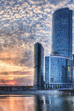 Moscow city at sundown Stock Image