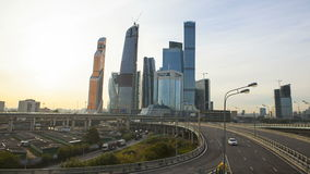 Moscow City Sunrise stock video