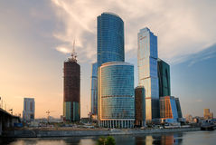 Moscow-city at the sunset Royalty Free Stock Photo