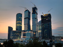 Moscow-city on the sunset. Construction of Moscow-city on the sunset royalty free stock photos