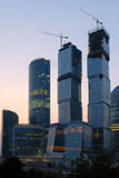 Moscow-city on the sunset. Construction of Moscow-city on the sunset royalty free stock photography
