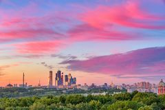 Moscow City at sunset. Bright clouds over Moscow City at sunset Royalty Free Stock Image