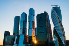 Moscow City at sunset Royalty Free Stock Image