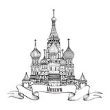 Moscow City Symbol. Moscow City label. St Basils Cathedral, Red Square, Kremlin, Moscow, Russia. Travel icon vector hand drawn sketch illustration Stock Photography