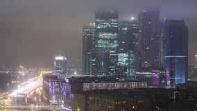 MOSCOW City timelapse at night. MOSCOW City timelapse summer Traffic Time Lapse - Moscow night stock footage