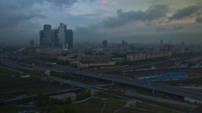Moscow City timelapse at night. Traffic Time Lapse - Moscow night stock video